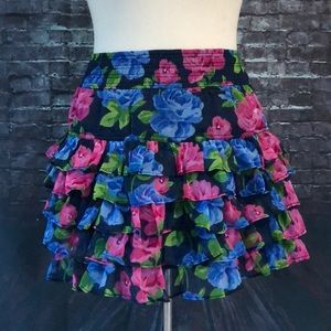 Abercrombie & Fitch Blue Floral Ruffled Skirt